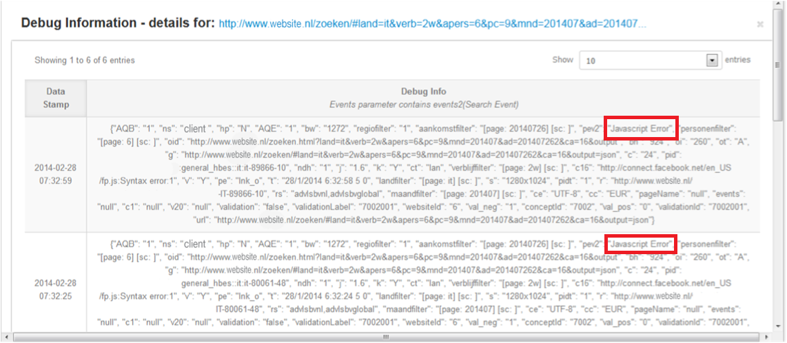 And when we click the top link for more details, we get the debug information immediately.